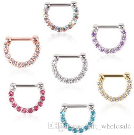 Nose Clicker Body Piercing Jewelry white /pink/blue/purple/steel/gold Vacuum Plating Nose Septum