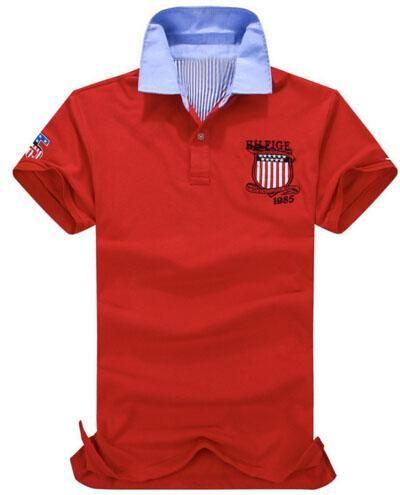 93733f623b2b4 Compre Pop Shop Moda Homens Lazer Camisa Polo Americano Designer Polos De  Algodão Mens Casual Camisas Polo Verão Tee Tops Tamanho Vermelho M Xxl De  ...
