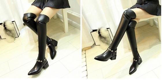 fashionville * di alta qualità! donne sexy B075 34 neri originali orecchini di pelle a punta tratto della coscia alti stivali di moda
