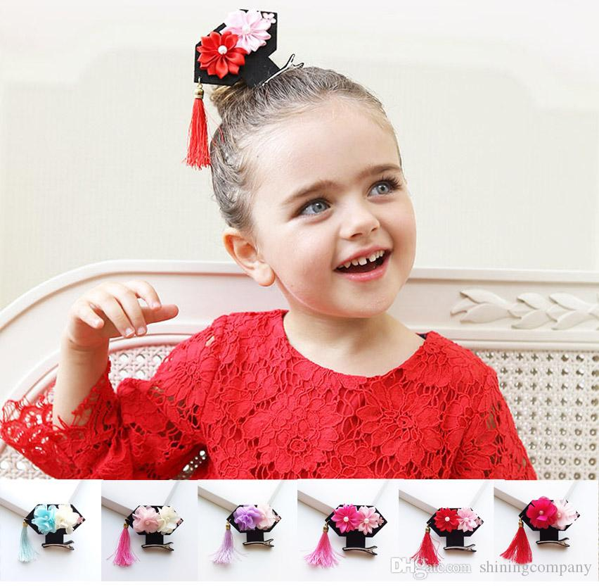 1c8d871b7 2019 2017 Chinese Style Girls Hair Clips Fashion 6cm Tassels Chiffon  Flowers Kids Hairpins New Year Gifts Children Kids Hair Accessories From  Shiningcompany ...