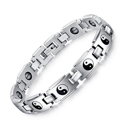 Nouvelle arrivée de haute qualité pur en acier inoxydable 316L nouvelle mode santé Taiji huit diagrammes Bracelet bracelet cadeaux de vacances pour hommes