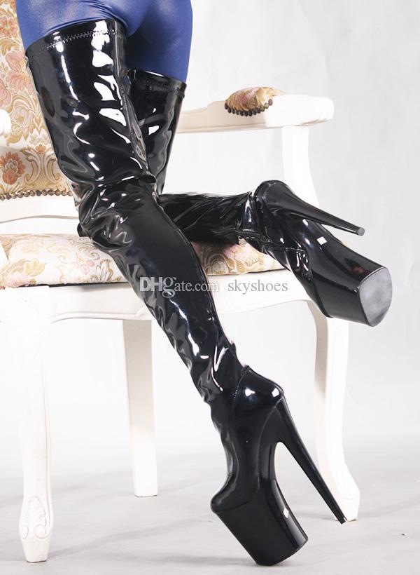 Wonderheel BDSM Sexy Fetysz Unisex Extreme Heel Heel 20cm Heel Black Shiny Stylowe Udo High Boots 8 cal Heel Platform Crotch Sexy Boots