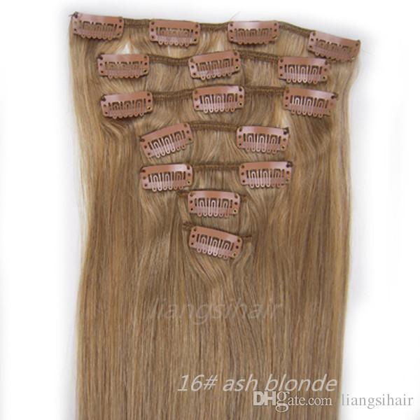Indian Straight Hair Clip In Hair Extensions 15 26 16 Ash Blonde
