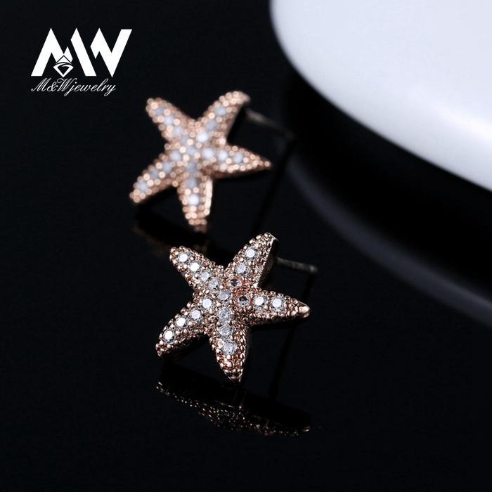 2017 New Design Women Stud Earrings Rose Gold Plated Cubic Zircon