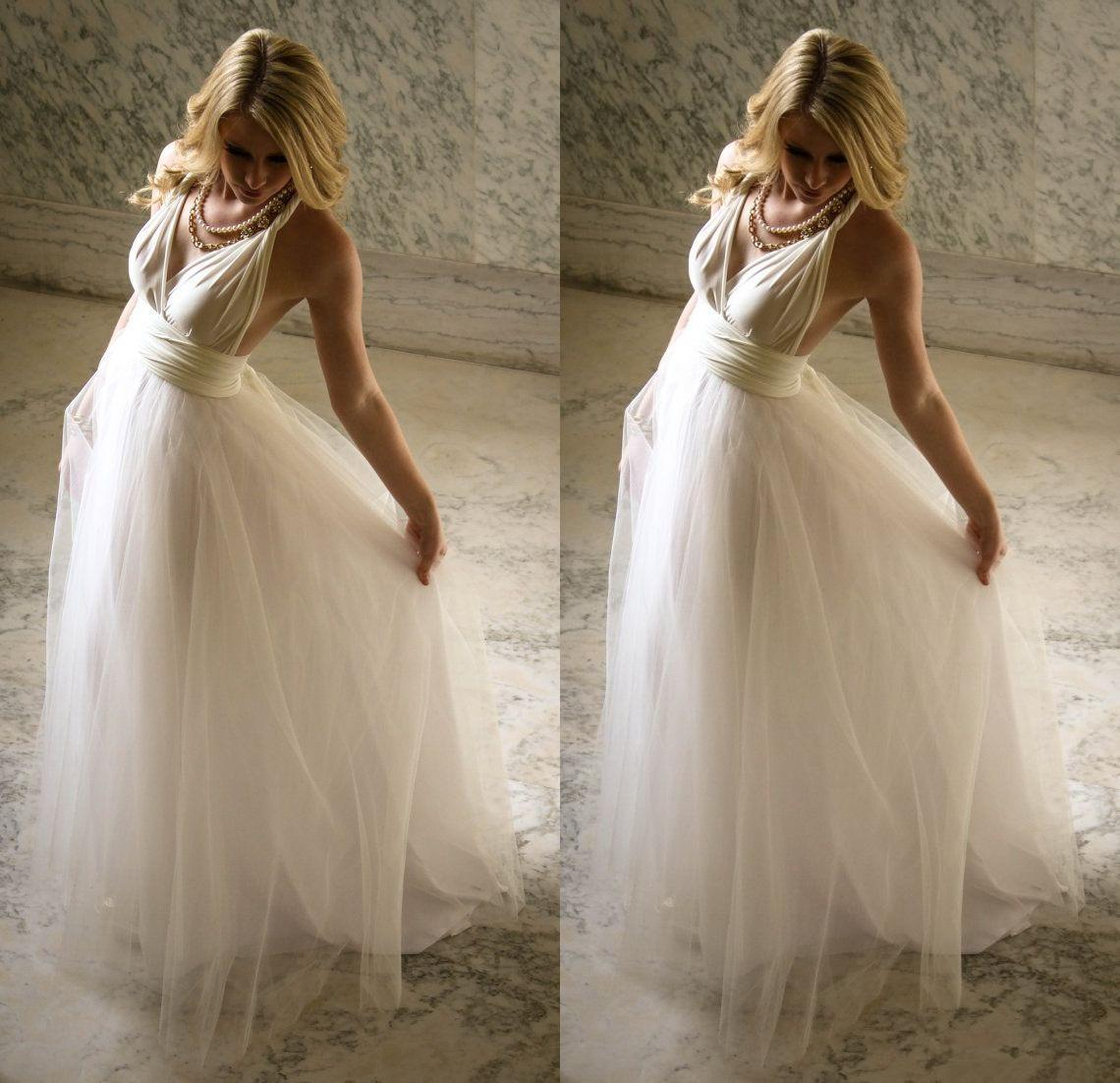Simple Halter Chiffon Bohemian Wedding Dresses A Line