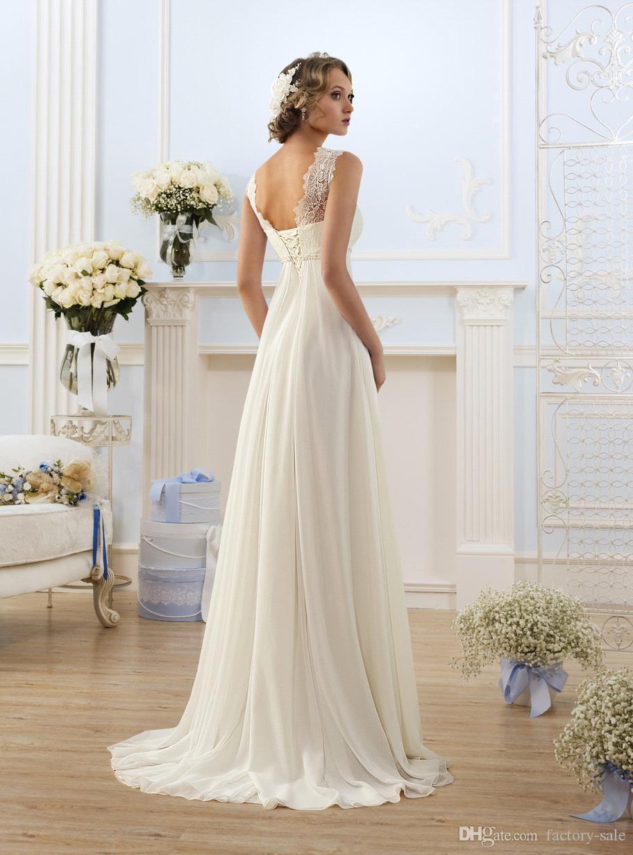 Elegante Mantel Brautkleider Eine Linie Sheer Neck Capped Sleeve Empire-Taille bodenlangen Chiffon Günstige Summer Beach Brautkleider BO8190