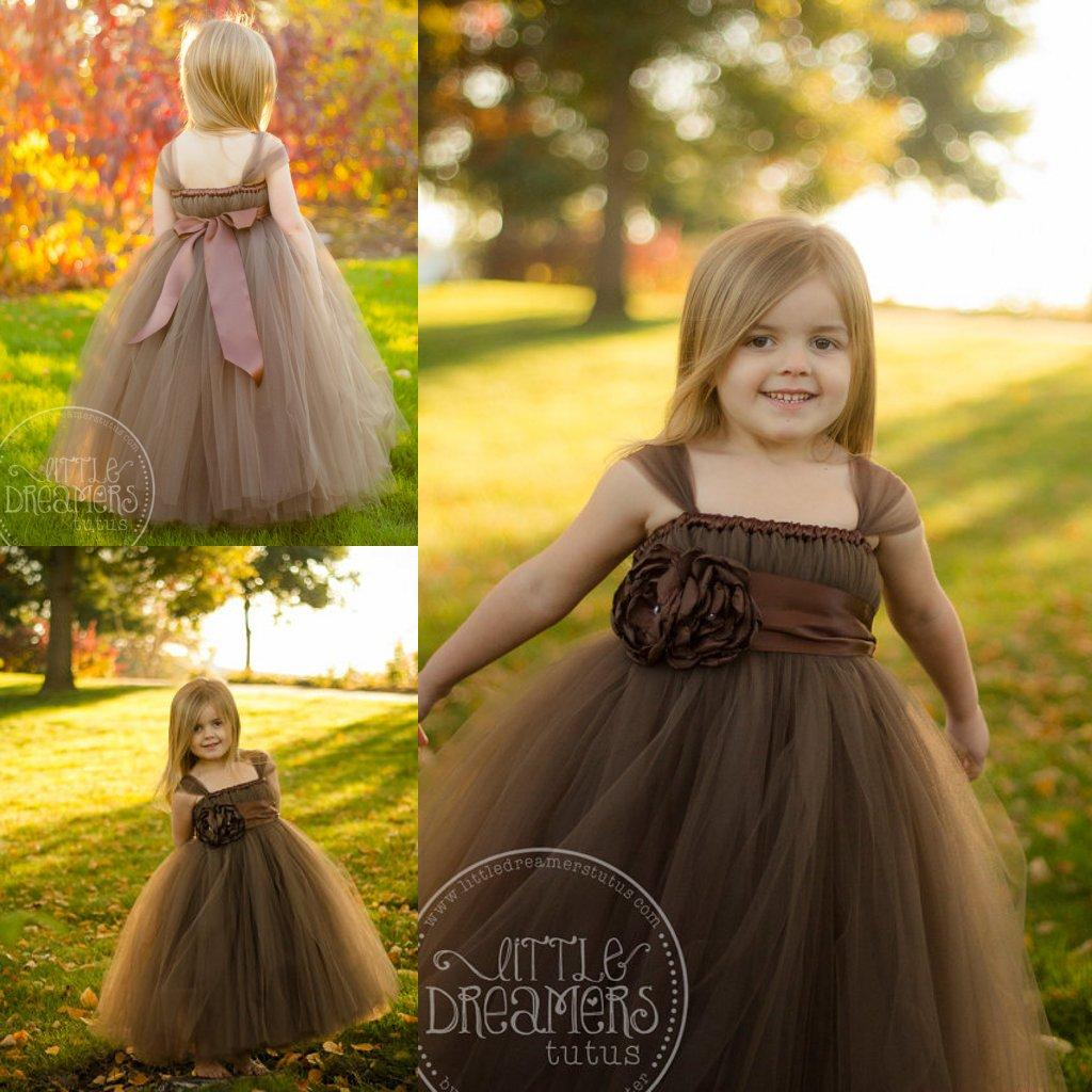 Chocolate Brown Ball Gown Flower Girl Tulle Dresses With Cap ...