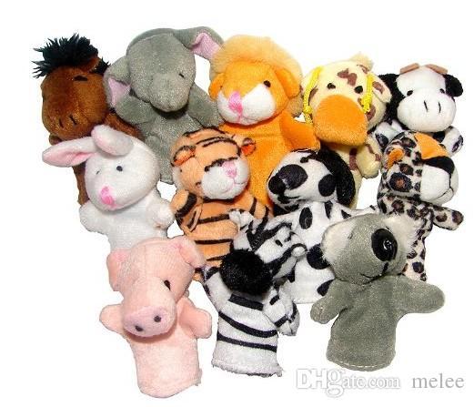 12styles in one bag Baby Soft Plush Velour Animal Hand Puppets Kids Animal Finger Puppet TOYS Preschool Kindergarten fedex dhl ship free