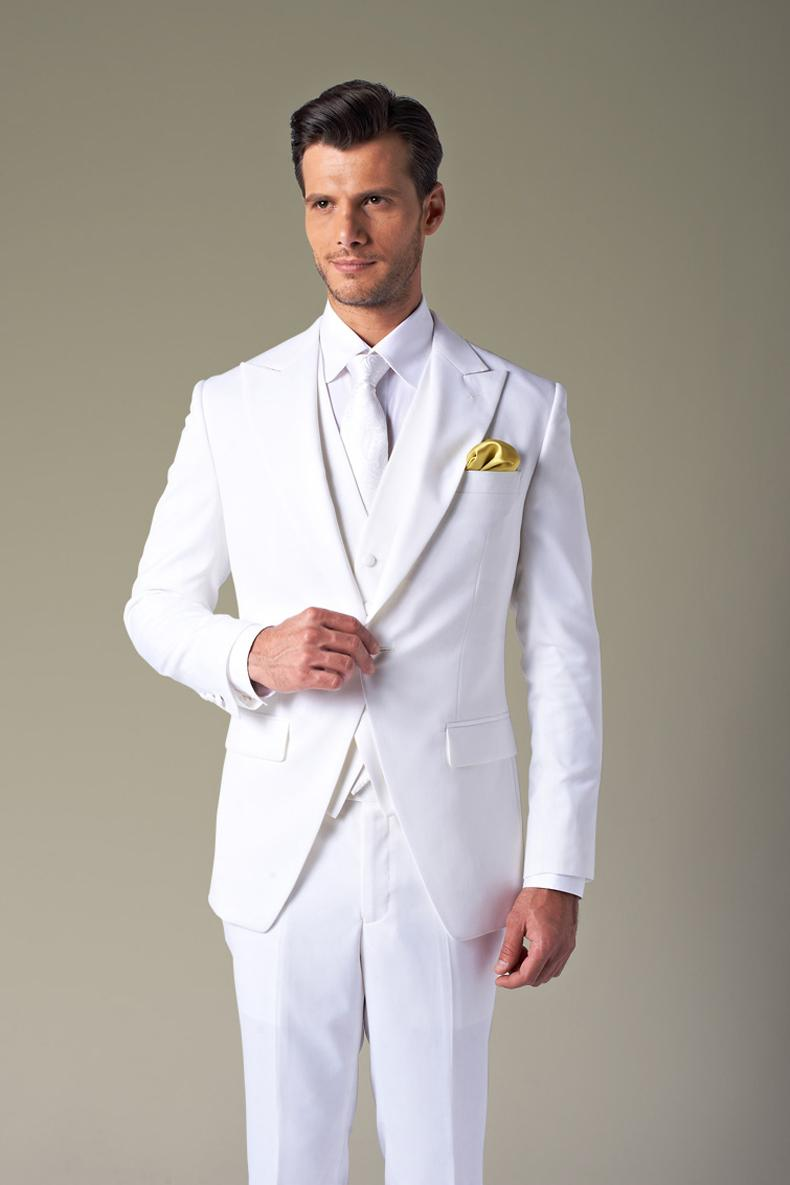 2015 White Wedding Suits For Men Ivory Tuxedos Peaked Lapel Men ...