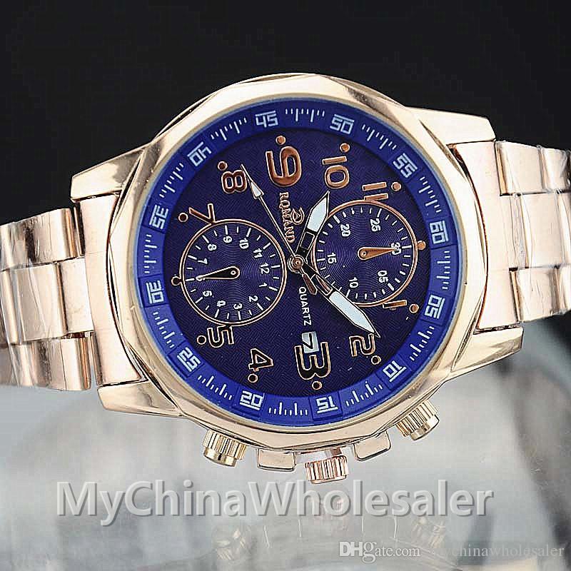 럭셔리 스테인레스 스틸 남성 시계 남성 손목 시계 패션 럭셔리 골드 크리스탈 쿼츠 라인 석 날짜 2 - 전화 번호 손목 시계