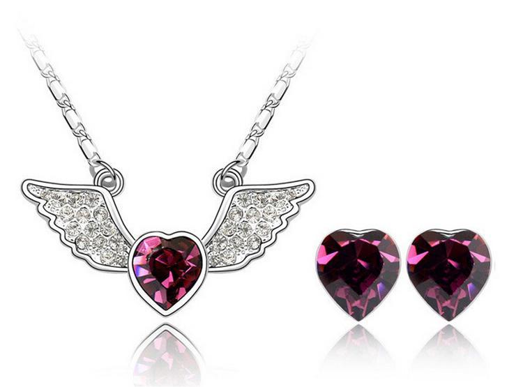 Pendientes de collar de corazón de ángulo establece 18k joyería de moda plateada blanco para conjuntos de joyería de aleación de AMANTE SET-00035