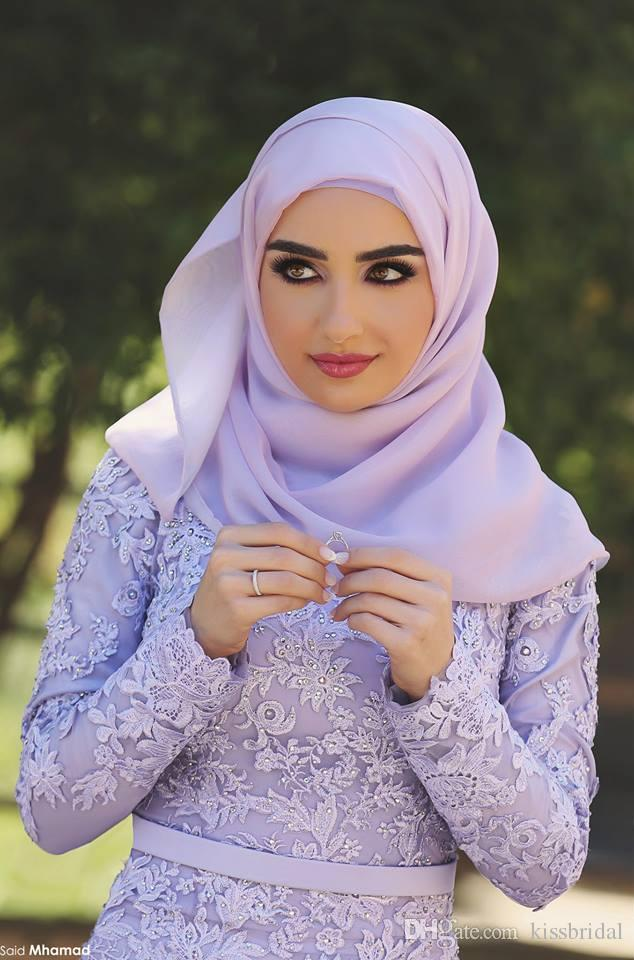 Lavender High Neck Long Sleeve Fully Lined Mermaid Muslim Evening Dresses With Free Hijab Lace Appliques Chapel Train Engagement Gowns