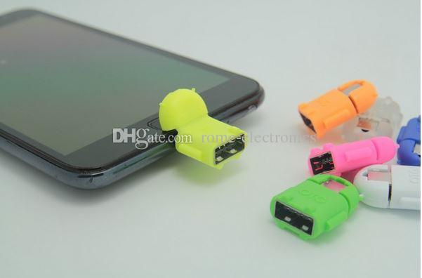 2016 Nuevo Android Robot Micro USB Mini Host OTG Cable Adaptador para Samsung Galaxy S3 S4 Note2 DHL Gratis