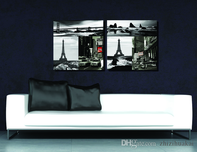 Art Picture Paint on Canvas Prints Eiffel Tower Brooklyn Bridge Bustling city Leaning Tower of Pisa Kissing lovers