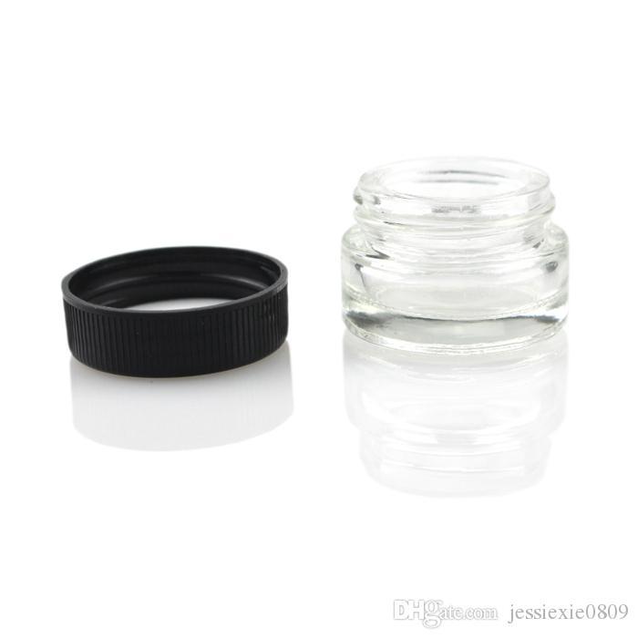 Lebensmittelqualität Antihaft-Glasbehälter 5 ml Wachs-Tupfer-Öl-Glas mit schwarzem Deckel Dabber Dry Herb Concentrate Container