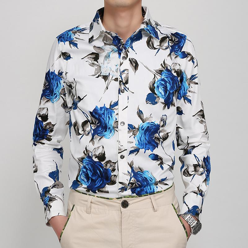 2018 New Flowers Print Long Sleeve Shirt Men'S Slim Shirt ...