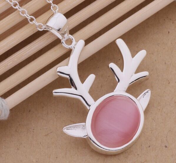 New arrival 925 Sterling silver plating of milu deer head Korean fashion pendant neckaces with high quality Hongkong post