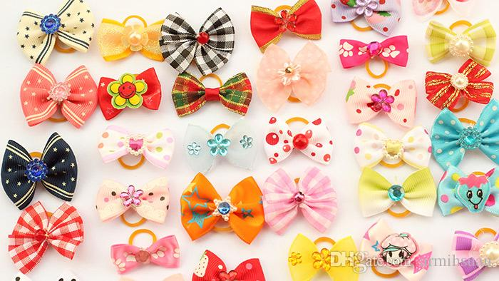 Most Cute!! Armi store Handmade Dog Bow Hair Little Flower Bows For Dogs 11021 Pet Grooming Accessories Products