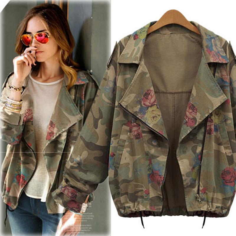 803028c9d5b Wholesale 2017 Plus Size Fashion Women Jacket Spring Summer Army Green Zipper  Jacket Camouflage Loose Short Coat Floral Print Outwear Biker Leather  Jackets ...