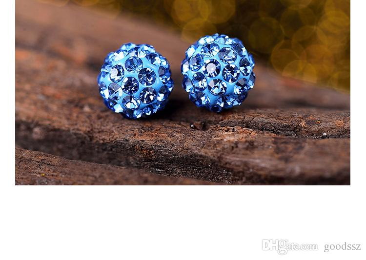925 Sterling Silver Stud Earrings Shambala Ball Diamond Crystal Disco Beads Candy Earring Fashion Jewelry for Women Girls High Quality