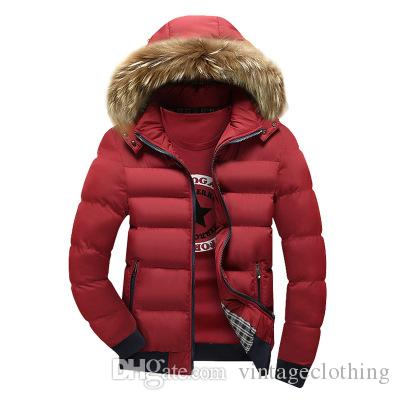 Erkek Kürk Yaka Ceket Moda Kış Fermuar Kalın Patchwork Rüzgarlık Dış Giyim Sıcak Pamuk Ceket erkek Ceket Açık Uzun ceket