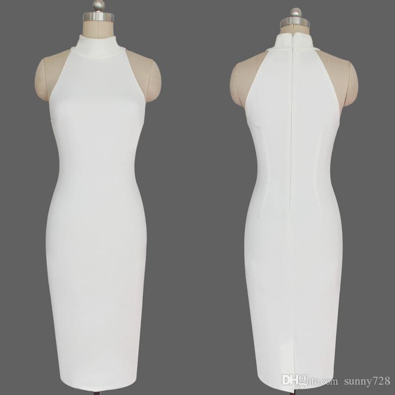 2016 Sıcak Yeni Beyaz Kim Kardashian Akşam Ünlü Giydirme deposu gelen Gerçek Görüntü Yüksek Boyun Kolsuz Abiye Çay Boyu Şık Parti Kıyafeti