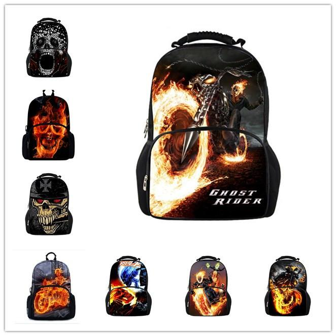 New Fashion Ghost Rider Backpack School Bags for Teenagers,Boys 3D Backpack  Cool Skull Men's Backpacks,College Students Bagpack