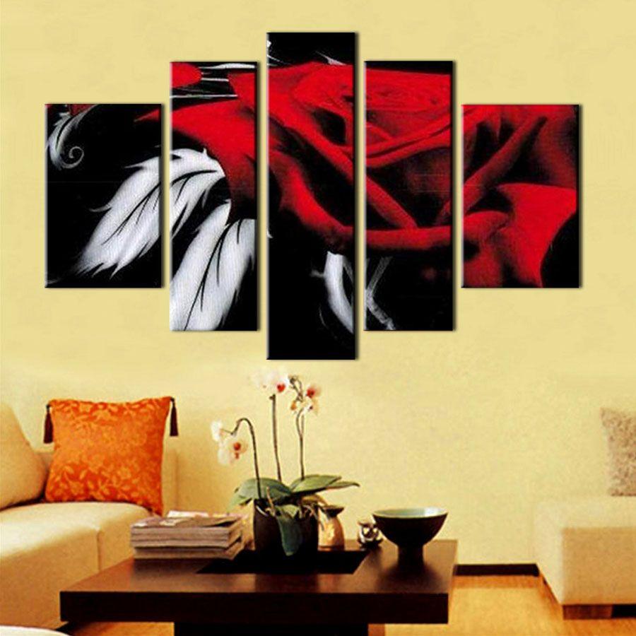 5 Bildschirm HANDGEMALTE moderne dekorative Leinwand Stück abstrakte Kunst ROSE schöne Ölgemälde für Schlafzimmer Dekoration romantisches Geschenk t5p119