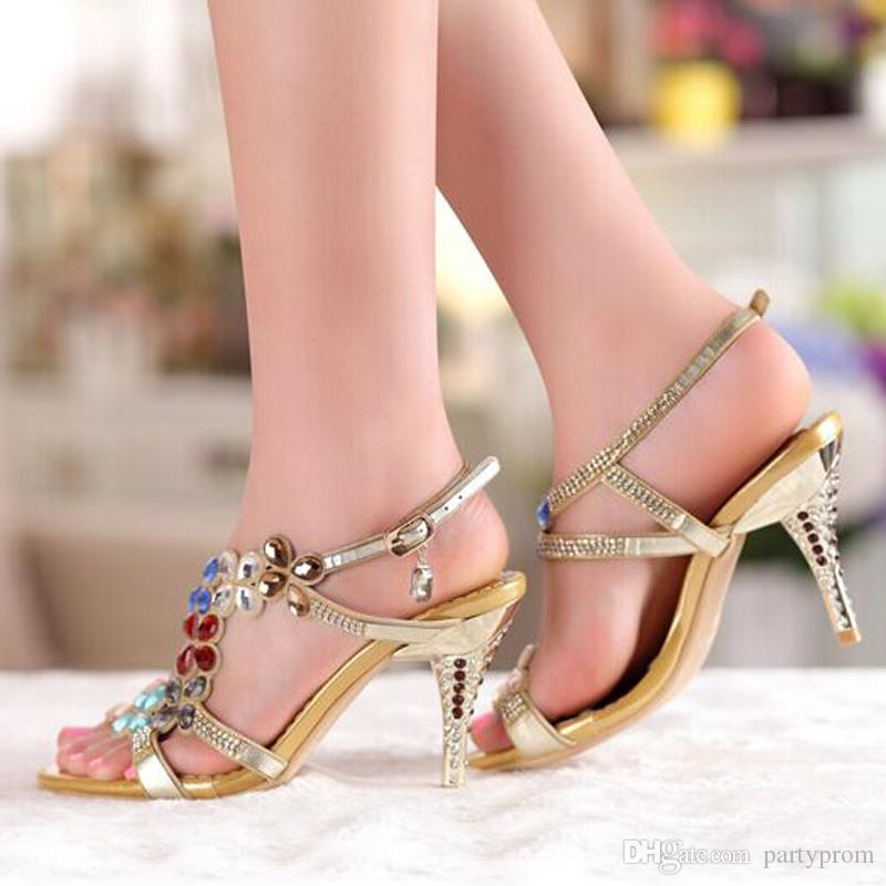 High Heel Sandals Beaded Rhinestone Open Toe Lady Bridesmaid Summer Cool Elegant Shoes Bridal Wedding Dresses Shoe