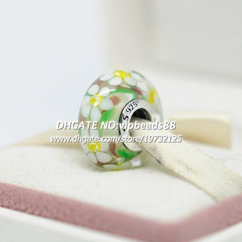 S925 gioielli moda in argento sterling fiore giallo effervescenza perline in vetro di murano adatto europeo fai da te pandora bracciali collana di fascino