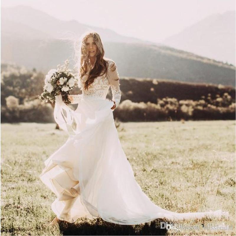 Vestidos de Casamento Do País boêmio Com Sheer Mangas Compridas Bateau Pescoço Uma Linha Lace Applique Chiffon Boho Vestido De Noiva Barato