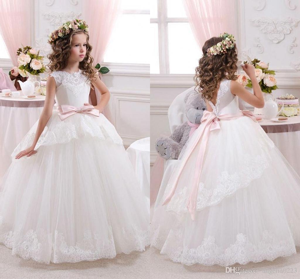 2016 Lovely White Lace Flower Girlsdresses Tulle Lace Applique Bow