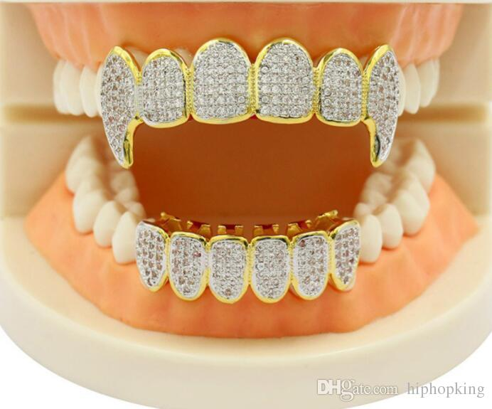 2019 Classic Party Toy Shining Hip Hop GRILLZ Iced Out CZ Fang Mouth Teeth  Grillz Caps Top   Bottom Grill Set Men Women Vampire Grills From  Hiphopking b5da4b5d5