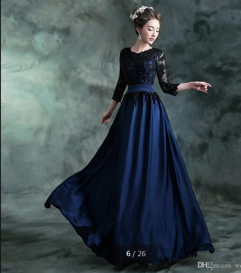 Vestido de noche de gasa azul oscuro apliques de encaje con fajas de escote redondo 34 manga modesta formal vestido de fiesta de fiesta de graduación