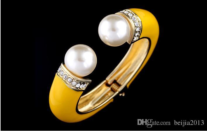 Pulseras de moda brazaletes hecho a mano esmalte hecho a mano perla Vintage flores diseño joyería 18k brazaletes chapados en oro BR-03155