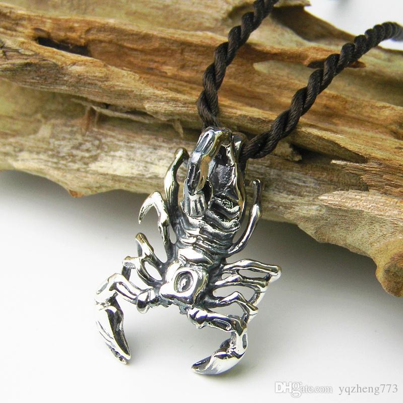 Venta caliente venta completa colgantes de plata tailandeses 40 * 25 mm El escorpión con cadena de 40 cm 16 pulgadas o 45 cm 18 pulgadas envío gratis