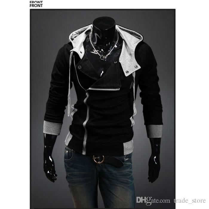 2017 새로운 남성 Hoodies 패션 한국어 스타일 슬림 후드 스웨터 트렌치 코트 크리스마스 긴 소매 파 카디 건 의류 겉옷 N23