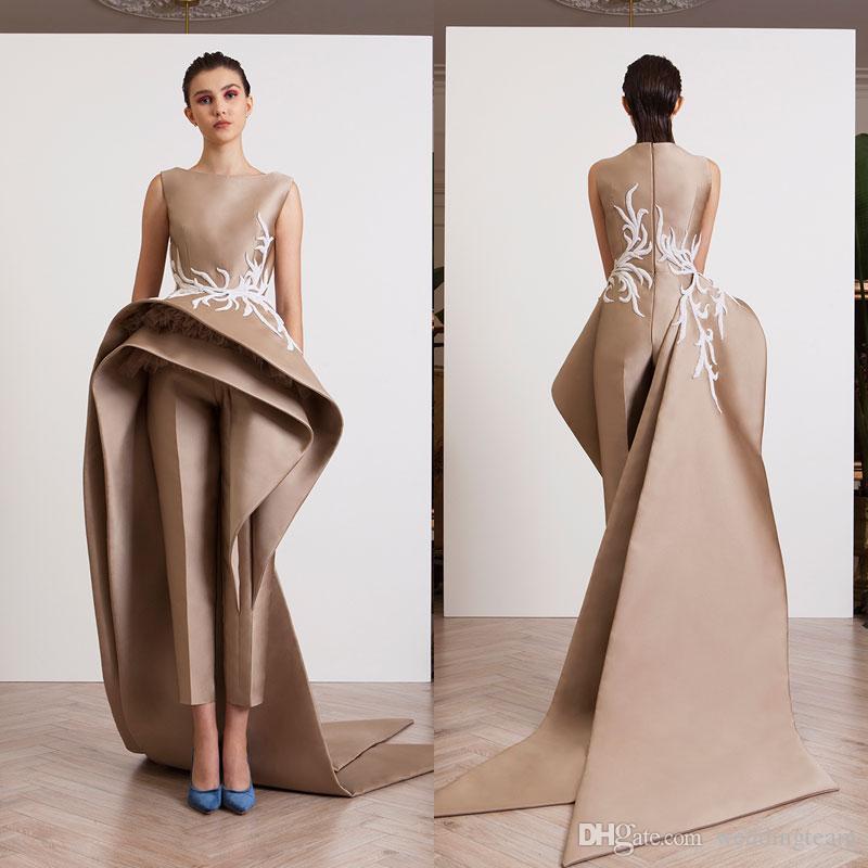 2018 Stylish Jumpsuits Prom Dresses Bateau Neck Appliqued Evening ...