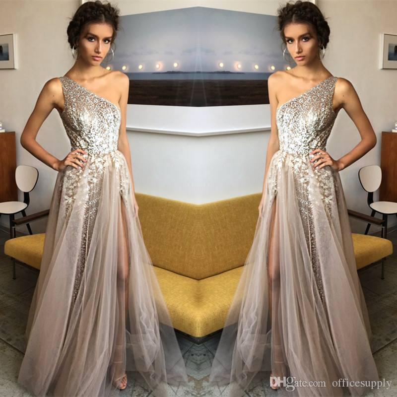 2018 Sparkle Silver Bling Sequin Prom Dresses Sleeveless One ...