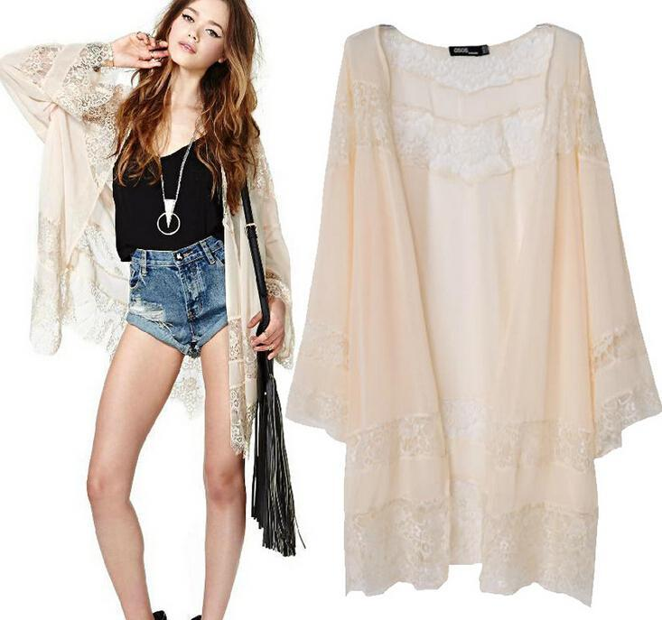2018 2016 Fall New Women Top Chiffon Lace Spliced Kimono Long ...