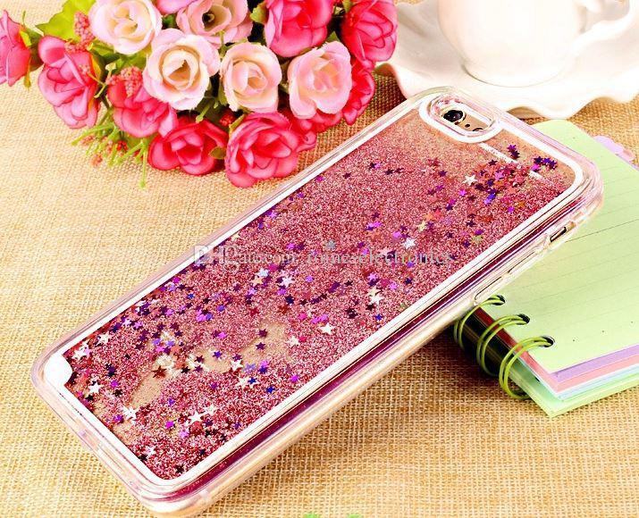 Custodie trasparenti telefono Fun Glitter Star Liquid Cover posteriore telefono cellulare iPhone 5 / 6s / 6s più Samsung Galaxy Note 4