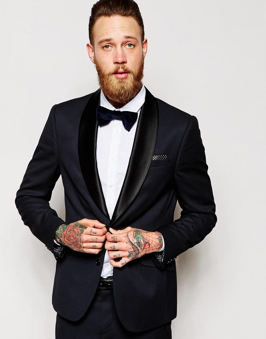 Slim Fit Tuxedo Jacket Navy Mens Suits Shawl Lapel Wedding Suits ...