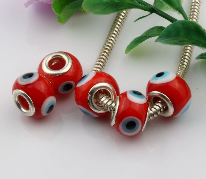 Evil Eye red Color Colored Glaze 5mm Big Hole Glass Beads Fit Charm Bracelet DIY Jewelry 14mm