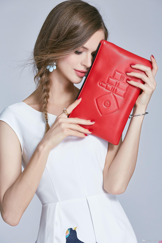 Bolso de la cremallera de la PU de la moda y caja de regalo bolsa de fiesta elegante caja de cosméticos de belleza famosa caja de regalo de lujo contador de tejidos