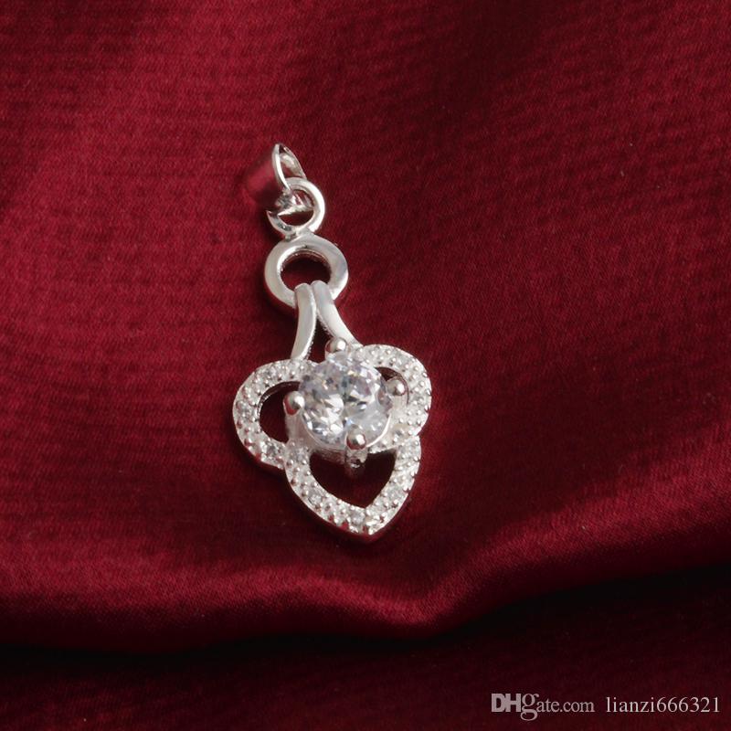 Бесплатная доставка мода высокое качество 925 серебро двойное сердце белый алмаз ювелирные изделия 925 Серебряное ожерелье День Святого Валентина праздничные подарки горячие 1669