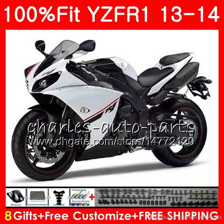 Injection Body For YAMAHA YZF white black 1000 YZF-R1 13 14 YZFR1 2013 2014 86NO58 YZF R 1 YZF-1000 YZF1000 YZF R1 13 14 Fairing kit 100%Fit