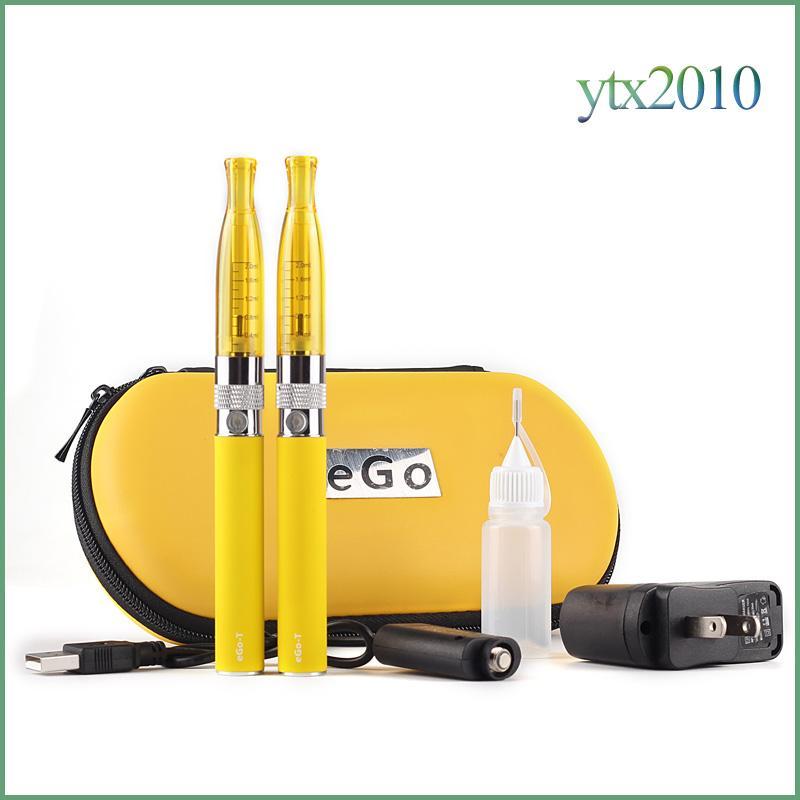 Elektronische Zigarette H2 EGo T Doppel-Reißverschluss Fall Kit 2,0 ml Zerstäuber 2,4 Ohm Verdampfer Ecig EGo T Batterie Zipper Kit