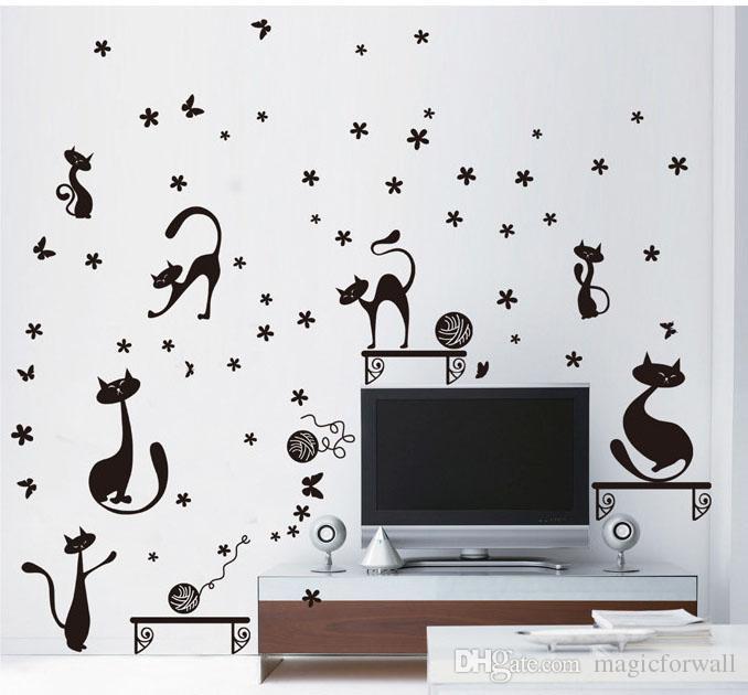 검은 고양이 재생 벽 데 칼 스티커 거실 침실 배경 벽 장식 미술 벽화 꽃 문자열 벽 벽 포스터의 공
