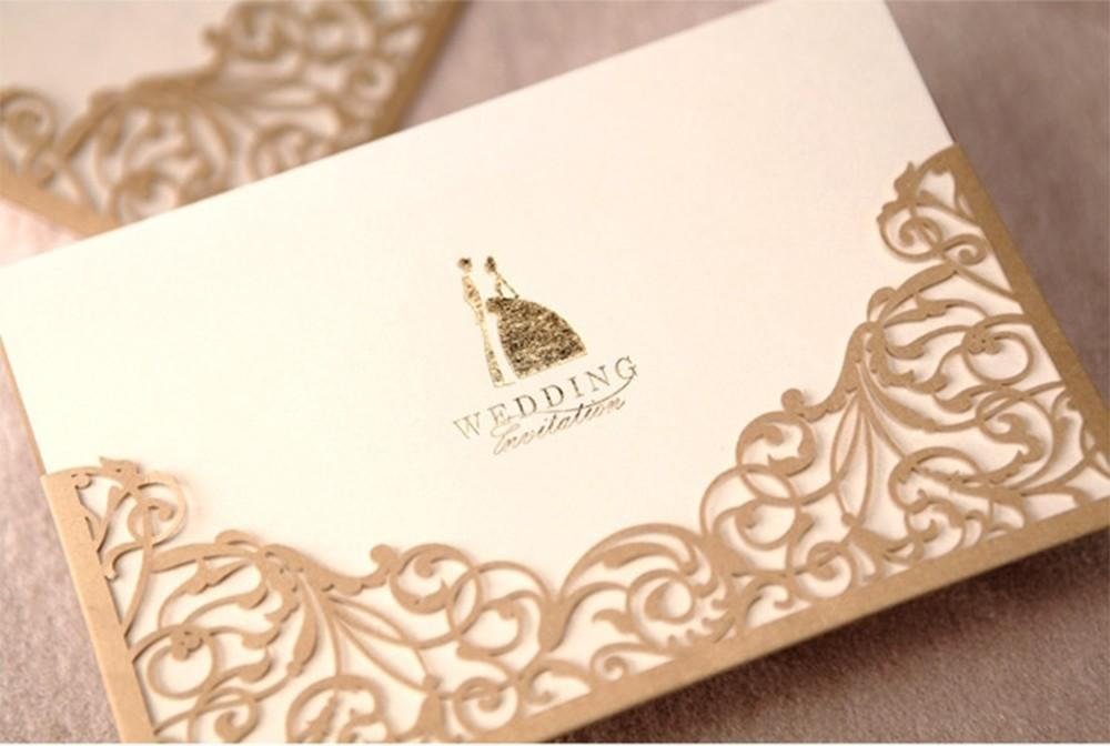 Hot Sale Floral Laser Cut Invitations Cards For Gold Wedding