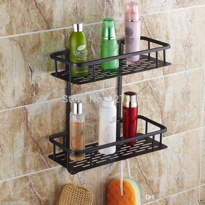 Luxury 2 Tier Bathroom Shower Hook Caddy Powder Coated Wire Oil ...